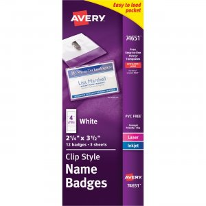 Avery Top-Loading Clip Style Name Badges 74651 AVE74651