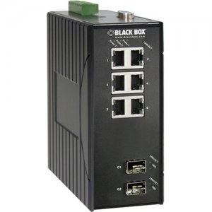 Black Box Hardened Managed Ethernet Switch, (6) 10/100-Mbps, (2) GE SFP, DIN-Rail, DC LEH906A-2GSFP