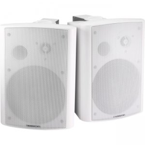 Monoprice 2-Way Active Wall Mount Speakers (Pair) - 25W - White 7496 MPA-25-WH