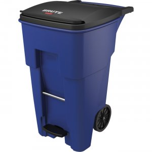 Rubbermaid Commercial 65 Gallon BRUTE Step-On Rollout Container - Blue 1971970 RCP1971970