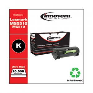 Innovera Remanufactured Black Ultra High-Yld Toner, Replacement f/Lexmark MS/MX510 (50F0UA0; 50F1U00; 60F0XA0; 60F1X00), 20,000 Pages IVRMS510LC