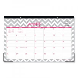Blue Sky Dabney Lee Ollie Desk Pad, 17 x 11, Gray/Pink, Clear Corners, 2020 BLS102138