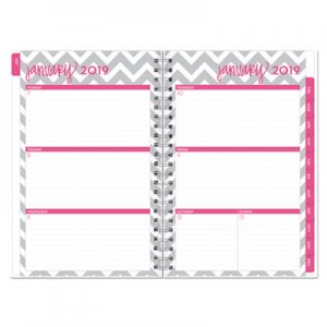 Blue Sky Dabney Lee Ollie Weekly/Monthly Wirebound Planner, 5 x 8, Gray/White, 2019 BLS102133