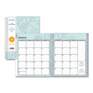Blue Sky Rue Du Flore Monthly Wirebound Planner, 8 x 10, Green/Lavender, 2019 BLS101605