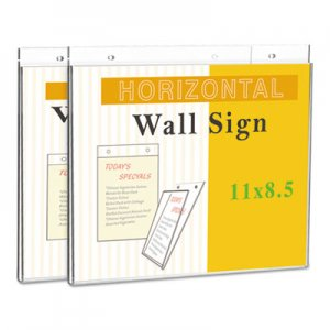 "Genpak Wall Mount Sign Holder, 11"" x 8 1/2"", Horizontal, Clear UNV76883"