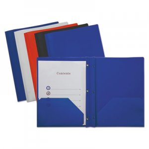 Genpak Plastic Twin-Pocket Report Covers with Fasteners,3 Fasteners,100 Sheets,Assorted UNV20555