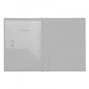 Genpak Plastic Twin-Pocket Report Covers with Fasteners, 3 Fasteners, 100 Sheets, White UNV20554