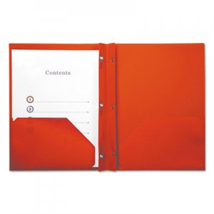 Genpak Plastic Twin-Pocket Report Covers with Fasteners, 3 Fasteners, 100 Sheets, Red UNV20553