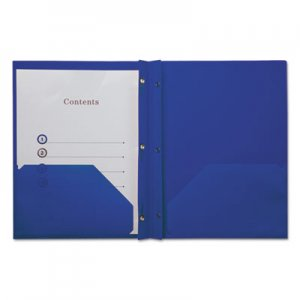 Genpak Plastic Twin-Pocket Report Covers with Fasteners,3 Fasteners,100 Sheets,NavyBlue UNV20551