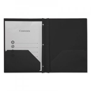 Genpak Plastic Twin-Pocket Report Covers with Fasteners, 3 Fasteners, 100 Sheets, Black UNV20550