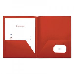 Genpak Two-Pocket Plastic Folders, 11 x 8 1/2, Red, 10/Pack UNV20543