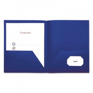 Genpak Two-Pocket Plastic Folders, 11 x 8 1/2, Navy Blue, 10/Pack UNV20541