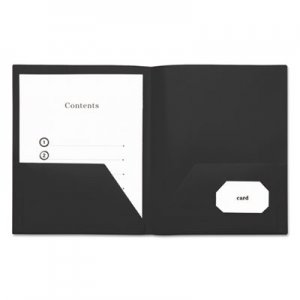 Genpak Two-Pocket Plastic Folders, 11 x 8 1/2, Black, 10/Pack UNV20540