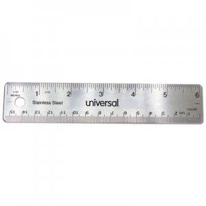 "Universal Stainless Steel Ruler, Standard/Metric, 6"" UNV59026"