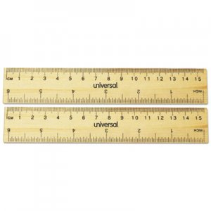 "Genpak Flat Wood Ruler, Standard/Metric, 6"" UNV59024"