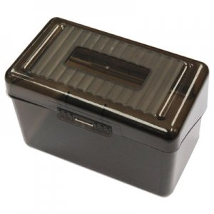 "Genpak Plastic Index Card Boxes, 4"" x 6"", Translucent Black UNV47287"