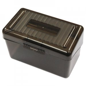 "Genpak Plastic Index Card Boxes, 3"" x 5"", Translucent Black UNV47286"