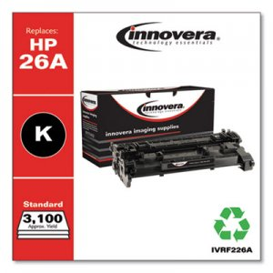 Innovera Remanufactured CF226A (26A) Toner, 3100 Page-Yield, Black IVRF226A