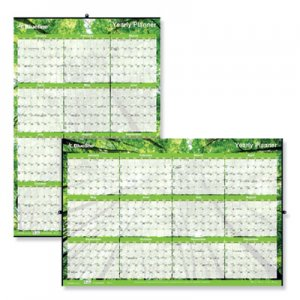 Blueline Yearly Laminated Wall Calendar, 36 x 24, Green, 2020 REDC171910 C171910