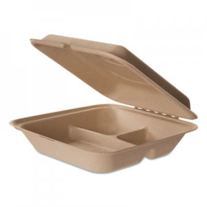 Eco-Products Wheat Straw Hinged Clamshell Containers, 9 x 9 x 3, 3-Compartment, 200/Carton ECOEPHCW93 EP-HCW93