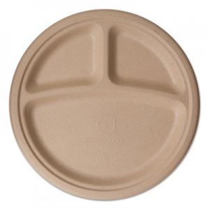 "Eco-Products Wheat Straw Dinnerware, 3 Compartment Plate, 10"" Diameter, 500/Carton ECOEPPW103 EP-PW103"