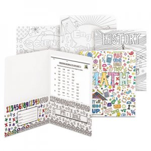 Smead Two-Pocket Coloring Folder, 11 x 8 1/2, School Subject Designs, 4/Pack SMD87910 87910