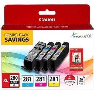 Canon PGI-280 XL / CLI-281 Combo Ink Pack with Glossy Photo Paper (50  Sheets