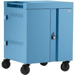 Bretford CUBE Cart AC for Up to 32 Devices w/Back Panel, Sky Paint TVC32PAC-SKY