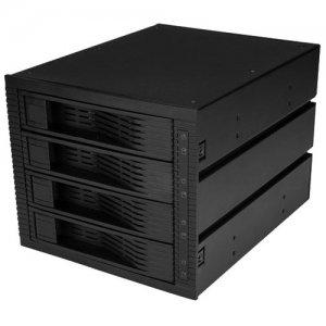 "StarTech.com 4-Bay 3.5"" SATA/SAS Mobile Rack for 3 5.25"" Bays - Trayless HSB43SATSASB"
