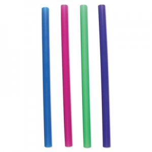 "Boardwalk Unwrapped Colossal Straws, 8 1/2"", Blue, Green, Pink, Purple, 4000/Carton BWKCSTU85N"