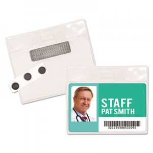 "Advantus Magnetic-Style Name Badge Kits, Horizontal, 4"" x 3"", Clear, 20/Pack AVT97071 97071"