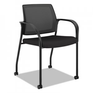 HON Ignition 2.0 Ilira-Stretch Mesh Back Mobile Stacking Chair, Black Fabric HONIS107HIMCU10 HIGS6.F.H.IM.CU10.T