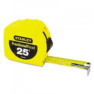 """Stanley Tools Tape Rule, 1"""" x 25ft, Steel Blade, Plastic Case, Yellow BOS30454 30-454"""