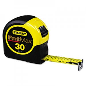 "Stanley Tools Fat Max Tape Rule, 1 1/4"" x 30ft, Plastic Case, Black/Yellow, 1/16"" Graduation SQN33730 33730"
