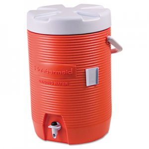 "Rubbermaid Commercial Insulated Beverage Container, 3gal, 11"" dia x 16 7/10h, Orange/White RUB16830111 16830111"