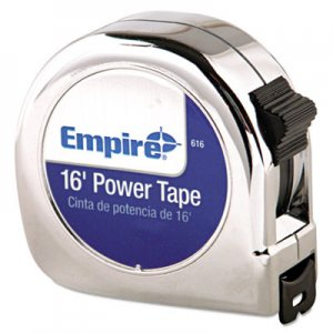 "Empire Power Tape Measure, 3/4"" x 16ft, Metal Case, Chrome, 1/16"" Graduation EML616 616"