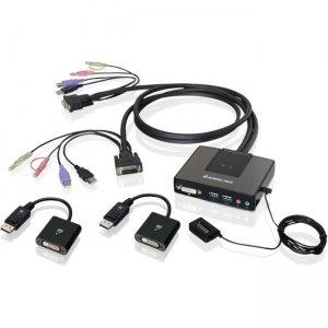 Iogear 2-Port Dual-Link DVI and Mini DisplayPort Cable KVM Kit with 2.1 Audio GCS982MDPKIT