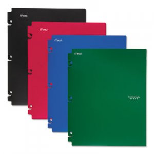 Five Star Snap-In Plastic Folder, 20 Sheets, 8 1/2 x 11, Assorted, Snap Closure, 4/Set MEA73266 73266