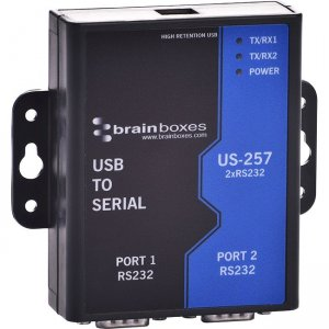 Brainboxes 2 Port RS232 USB to Serial Adapter US-257-X50C US-257