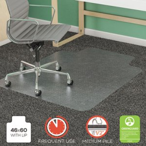 deflecto SuperMat Frequent Use Chair Mat for Medium Pile Carpet, 46 x 60, Wide Lipped, Clear DEFCM14432F CM14432F