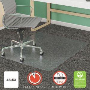 deflecto SuperMat Frequent Use Chair Mat, Med Pile Carpet, Flat, 45 x 53, Rectangular, Clear DEFCM14242 CM14242