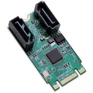 SYBA Multimedia M.2 B+M Key 22x42 PCIe To 2 Port SATA III RAID Adapter Card SI-ADA40126