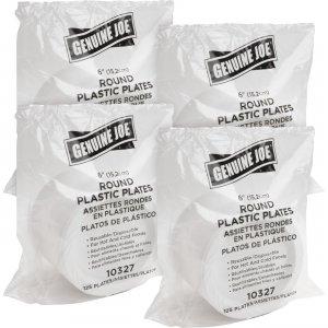 Genuine Joe Reusable Plastic White Plates 10327BD GJO10327BD