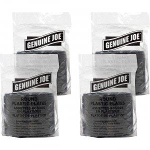 Genuine Joe Round Plastic Black Plates 10427BD GJO10427BD