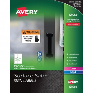 Avery Surface Safe Sign Labels 61514 AVE61514