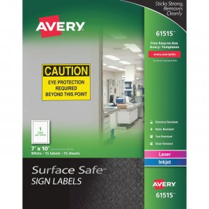 Avery Surface Safe Sign Labels 61515 AVE61515