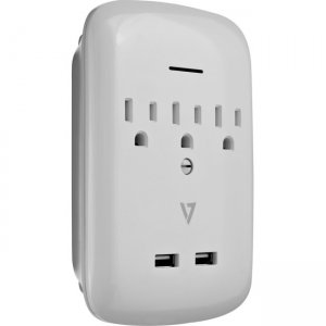 V7 3-Outlet Surge Wall Tap with 2 USB Ports SA03USBWALL-1N