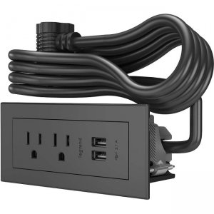 Wiremold Radiant Furniture Power Center 2 Outlet 2 USB, Black, 10 Foot Cord 16363
