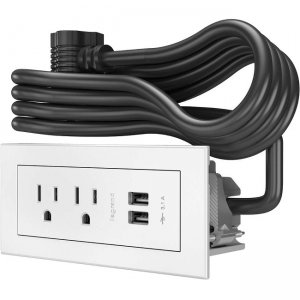 Wiremold Radiant Furniture Power Center (2) Outlet (2) USB, White 16369