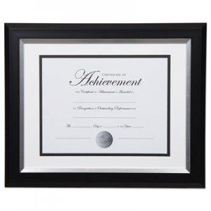 DAX 2-Tone 11 x 14 Document Frame, 8 1/2 x 11 Insert, Black/Silver Frame, White Mat DAXN16984ST